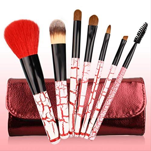 Set De Maquillage Brosse 7 Pièces Soft Animal Poilu Manche En Bois Maquillage Set Brosse Motif De Zèbre Brosse De Maquillage S-329 Rouge