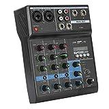 Mesa de mezcla de audio compacta de 4 canales con tarjeta de sonido para auriculares, reproductor de MP3, tarjeta de sonido para PC(Normativa europea)