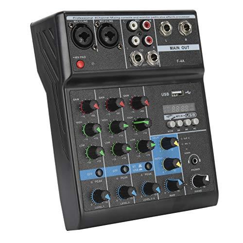 4-Kanal-Kompakt-Audio-Mischpult mit Soundkarte für Kopfhörer MP3-Player PC-Soundkarte(Europäische Vorschriften)