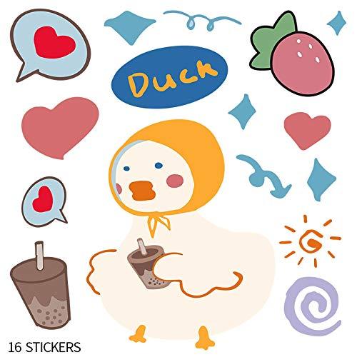 DONGJI Dibujos Animados Lindo Pato Maleta Pegatinas Maleta Maleta con Ruedas Pegatinas para Ordenador portátil Impermeable 16 Piezas