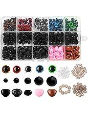 560 pcs Seguridad Ojos de Plastic,Ojos de Muñeca de Plástico,Hacer Muñecas Ojos,Coloridos Vistoso Ojos,DIY Ojos de Seguridad Negro,Manualidades Ojos,Vistoso Ojos de Seguridad Ojos (A)