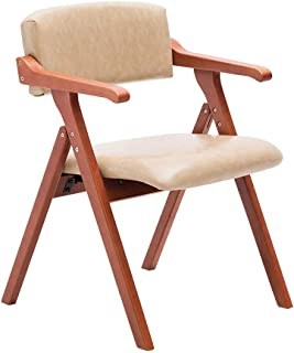 HLYT-Barstools Chairs Dining Chair Solid Wood Folding Chair Armchair Home Restaurant Desk Balcony Chair Meeting Leisure Chair/Beige Leather/Maximum Load 200KG