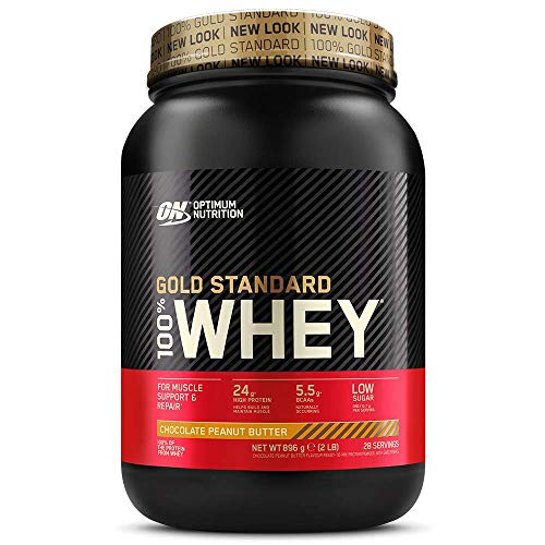 Optimum Nutrition Gold Standard Whey Protein Powder Muscle Building Supplements With Glutamine and Amino Acids, Chocolate Peanut Butter, 28 Servings, 900 g, Packaging May Vary