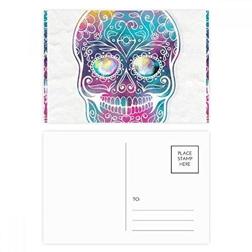 DIYthinker Blume Cirrus Bunte Schädel-Illustration Postkarten-Set Geburtstag dankt Karte Mailing Side 20pcs 5.7 Zoll x 3.8 Zoll Mehrfarbig