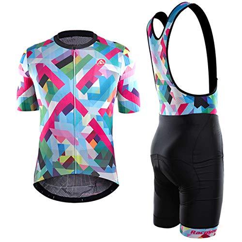 Vêtements de Cyclisme à Bretelles, vêtements de vélo de Montagne d'été pour Hommes, vêtements de Sport pour Femmes à séchage Rapide et Respirant, Haute élasticité,J-L