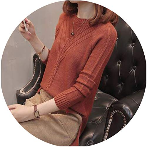 sensitives Winter Women Pullover Sweater Fashion Autumn Plus Size Sweaters O-Neck Knitwear Loose Knitted Sweater,Caramel,L