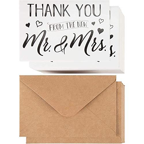 Dankeskarten nach Hochzeit von Sustainable Greetings (120 Stück) - Danksagung an Gäste, Brautjungfer, Trauzeugen - Klappkarten mit Text - Inkl. Briefumschläge aus Kraftpapier - 10 cm x 15 cm