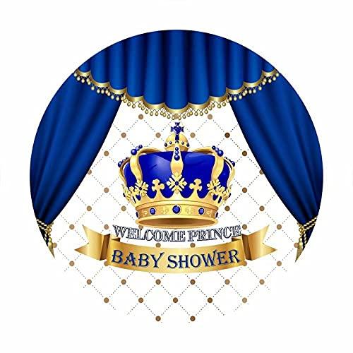 Leowefowa 1x1m Poliéster Baby Shower Telón de Fondo Redondo Bebé Real Telón de Fondo Azul Príncipe Cortina Corona Fondos para Fotografia Fiesta Bebé Infantil Recién Nacido Props Photo Booth