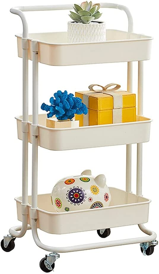 BIAOYU 3 Tier Choice Utility Storage Cart Kitchen Wheels Locking C free with