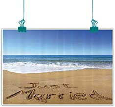 funkky Wedding Decorations Modern Frameless Painting Just Married Written on Sandy Beach Ocean Waves Romantic Photo Bedroom Bedside Painting 35
