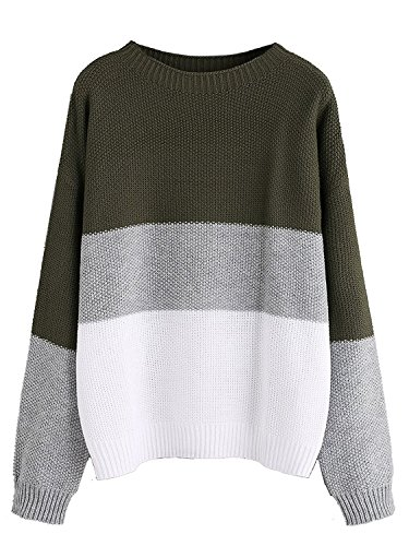 Milumia Women's Drop Shoulder Color Block Textured Jumper Casual Sweater (Medium, Green)