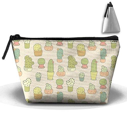 Kaktus Aquarell Malerei Kulturbeutel Pouch Kosmetiktasche Trapez Aufbewahrung Reisetasche