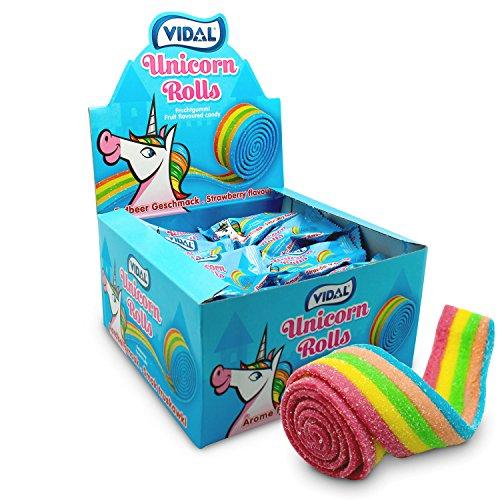Vidal Unicorn Rolls Fruchtgummi-Rolle mit Erdbeer-Geschmack, 24er Pack (24 x 19g Rolle)