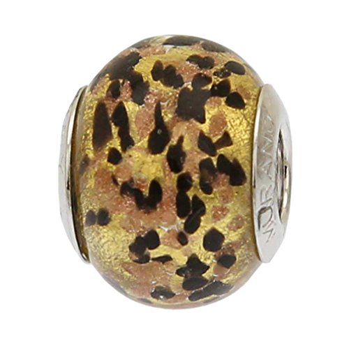 GlassOfVenice - Abalorio de cristal de Murano, color negro y dorado