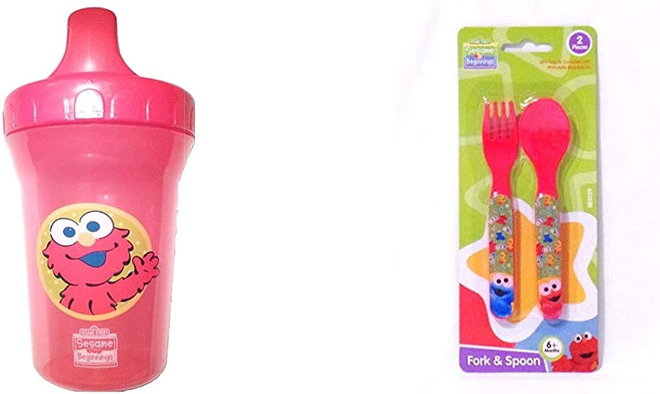 Sesame Beginnings Spill Proof Cup Elmo 8 Ounce Bundle With 2 Piece Utensils Fork And Spoon Red