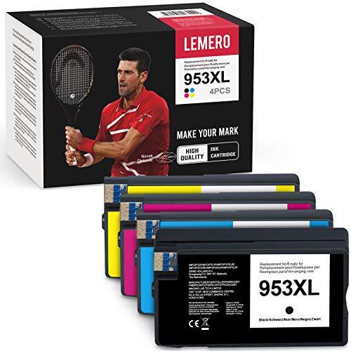 LEMERO Kompatibel 953XL 953 XL Druckerpatronen für HP OfficeJet Pro 8210 8218 8710 8715 8718 8719 8720 8725 8728 8730 8740 7740 wf All-in-One Drucker(BK/C/M/Y)
