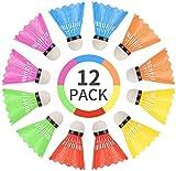 WBYJ 12 PCS Volantes de Bádminton, Bádminton de Plástico Colorido, Nylon Badminton con Gran Estabilidad y Durabilidad, Pelotas de Bádminton para Deportes y Entretenimiento al Aire Libre en Interiores