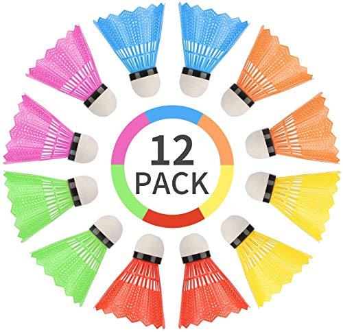 WBYJ 12 PCS Volantes de Bádminton, Bádminton de Plástico Colorido, Nylon Badminton con Gran Estabilidad y Durabilidad, Pelotas de Bádminton para Deportes y Entretenimiento al Aire Libre en Interiores 🔥