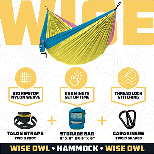 Wise Owl Outfitters Camping Hammocks - Portable Hammock Single or Double Hammock for Outdoor, Indoor w/ Tree Straps - Backpacking, Travel, and Camping Gear, Yellow & Blue (Double)