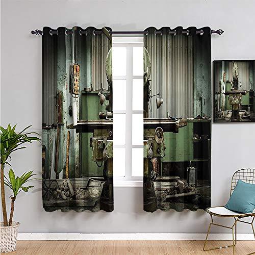 Cortinas opacas para sala de estar, 114,3 cm de largo, 2 paneles, color verde pálido, 163 cm de ancho x 45 cm de largo