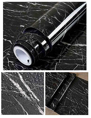 Hode Schwarz Marmor Folie Selbstklebende Klebefolie Möbel Küchentür Wandaufkleber für Möbel Wand Tür Dekorieren Vinyl Aufkleber 40X300cm