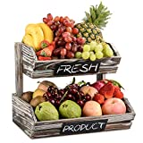 Rustic Fruit Basket Holder Vegetable Bread Storage Stand 2 Tier Produce Standing Wooden Organizer for Kitchen, Home, Office, Dining Room, Supply Room and Guest Room (Need Assemble)