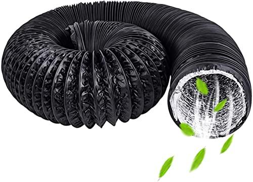 QAZXCV Condotto del Ventilatore, Condotto di Ventilazione Flessibile in Alluminio Ø150mm, Condotto dell'Aria Rotondo in PVC per Bagno, Cucina, WC, Tubo del Condotto del Ventilatore (Ø6 * 5M, Nero)