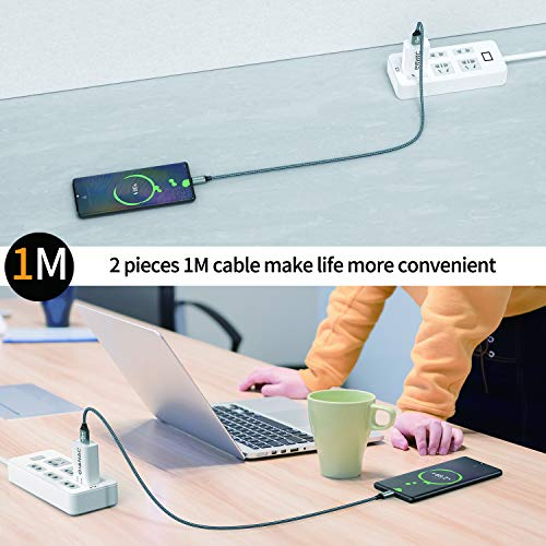 USB C Kabel, 2Pack [1M] Typ C Kabel, USB C Ladekabel und Datenkabel Fast Charge Sync Schnellladekabel Cable For Samsung Galaxy S10/S9/S8+,Huawei P30/P20,Google Pixel,OnePlus 6T