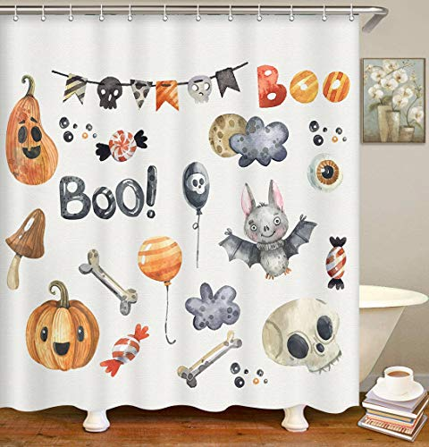 Britimes Duschvorhang Halloween Kürbisse Hexen Hut Candy Flags Lustig Gruselig Wasserdicht Polyester Stoff Badezimmer Dekor Bad 152,4 x 183,9 cm Set mit Haken