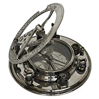真正モデル マリナーズコンパス クラシック ヴィンテージ ノーティカルピース 光沢アルミニウム仕上げ - 3.6インチ D