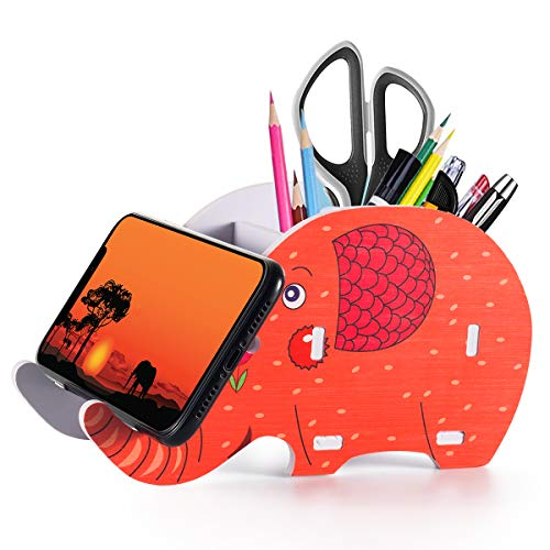 Desk Supplies Organizer,Roiroiko Wooden Cute Elephant Pencil Pen Holder,MultiFunction Removable Pen Cup Office Accessories Desk Decoration with Storage Box Organizer for iphone ipad smartphone(orange)