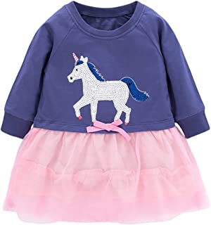 Ainuno Dresses for Girls 2-7 Years,100% Cotton Little Girls Dress Outfits Long Sleeve