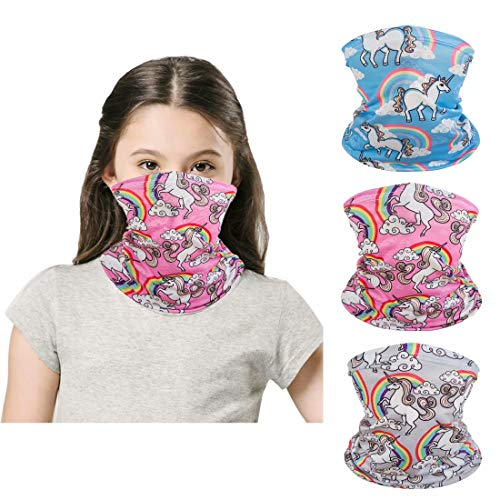 [3 Pack] Kids Sun UV Protection Face Bandanas, Breathable Cloth Fabric Neck Gaiter for Outdoor Sports Cycling, Reusable Washable Half Mask Scarf Children Teens Balaclava for 3-12 Years Boys Girls-2