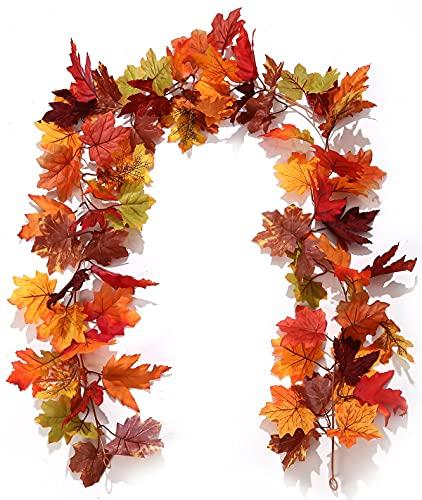 Rcbmn Guirnalda de hojas de arce artificial para otoño, 2 unidades, para...