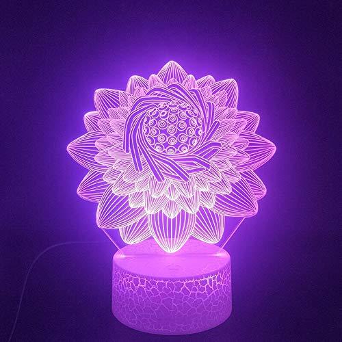 Luz de noche de 7 colores Luces de bricolaje Loto hermoso en 3D, a través del control remoto Luz de noche LED USB Luz de color de ambiente de Halloween para el cambio de color de vacaciones