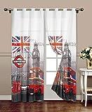 takestop Tenda London Fantasia Londra British UK Stampe 140X280CM A Pannello con Anelli per ARREDO Interni Porta Finestra per Bastone