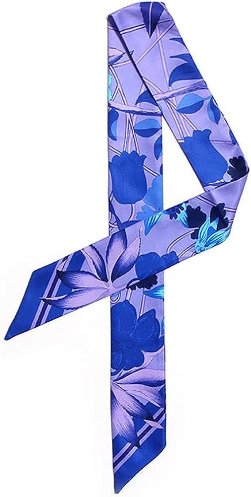 IMLECK Tulip Pattern Printing Hairband Handbag Handle Ribbon Fashion Bag Scarf for Women Girls
