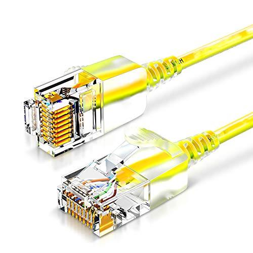 SHOUCAN Cable Ethernet Cat 6 De 2 M, Cable RJ45 Cable Ethernet Cat6 para Exteriores 26AWG Cable Ethernet De Entierro Directo Impermeable Cat7 De Alta Resistencia 10Gbps 500Mhz,Amarillo