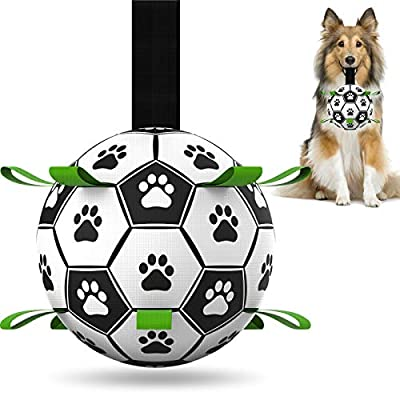 Dog Toys Soccer Balls, Interactive Dog Toys for Tug of War, Dog Tug Toy, Dog Water Toy, Durable Dog Balls for Small & Medium Dogs