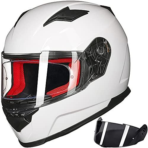 ILM Motorcycle Street Bike Full Face Helmet Anti-Fog Pinlock Shield Snowmobile Helmets DOT for Men Women (White, L)