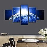 XCSMWJA La Luz Azul De La Tierra Óleo Abstracto Arte De Pared Dormitorio Decoración Encima De La Cama 5 Piezas De Arte De Pared/Set Sin Enmarcar A