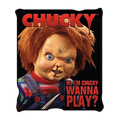 Silver Buffalo CK0527 Universal Chucky 'Wanna Play' Raschel Throw, 50 x 60 inches