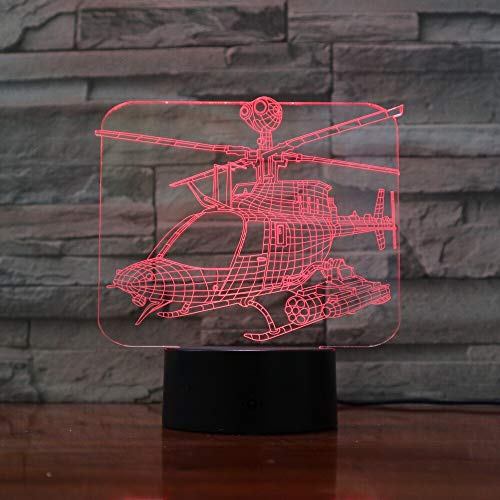 Colorful Stereo Helicopter Change Atmosphere Lights 3D Table Lamp Gift Mood Decoration Children Gifts | Bedside Table Lights Dimmable