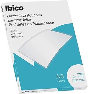 Ibico Láminas para Plastificar Tamaño A5, Acabado Brillante, 150 Micras, Pack de 100, Transparentes, 627314