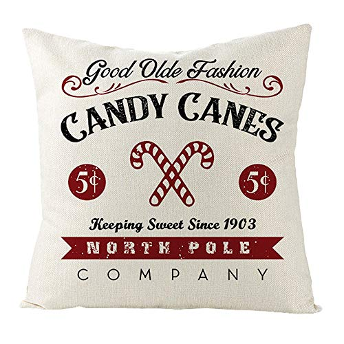 Leotruny Christmas Pillow Covers 18 x 18 Inch Farmhouse Winter Holiday Cushion New Year Throw Pillows Case for Sofa Couch (C03-Candy)