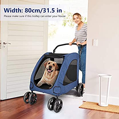 Pet Four-wheeled Stroller Dog Trolley Cat Carts Foldable for Medium Large Dogs Outgoing, Load Within 60kg (Blue) 4