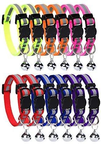Homimp Lot de 12pièces de collier pour chat avec clochette bande réfléchissante et boucle de...