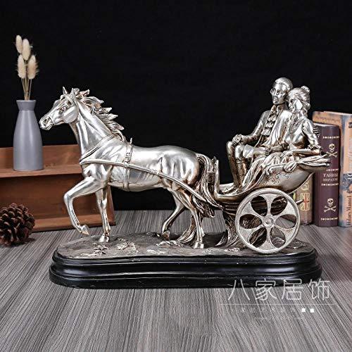 Powzz ornament Casa nórdica caballo dibujado carro pareja decoraciones TV gabinete decoraciones resina artesanía decoraciones