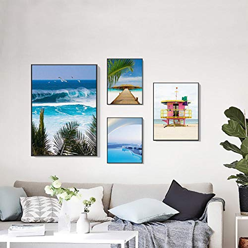 Blauw zwembad groene tropische palmbomen strandbus moderne zeegezicht canvas schilderij 40X60CMX4 (frameloze)