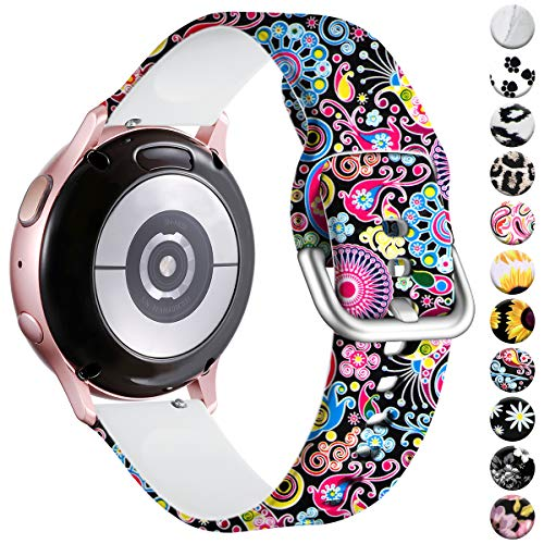 Vobafe Compatible con Samsung Galaxy Watch Active 40mm Correa/Active 2 Correa, 20mm Correas de Repuesto de Silicona para Galaxy Watch 3 41mm/Gear S2 Classic/Gear Sport Smart Watch, Fuegos Artificiales
